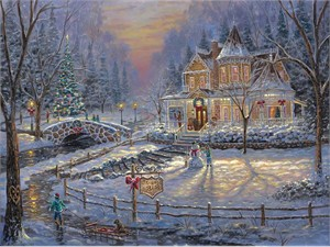 "Robert Finale Hand Signed and Numbered Limited Edition Hand-Embellished Giclee on Canvas:""Christmas Homecoming"""