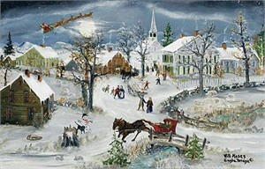 "Will Moses Handsigned and Numbered Limited Edition Lithograph Print on Paper:""Christmas Eve Service"""