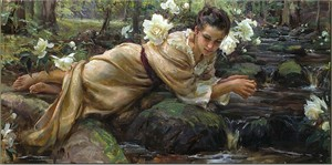 """Daniel F. Gerhartz Hand Signed and Numbered Limited Edition Embellished Giclee on Canvas :""""Quiet Waters"""""""