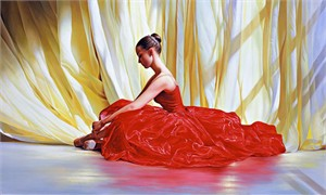 """Alexander Sheversky Hand Signed and Numbered Limited Edition Canvas Giclee:""""Seated Dancer In Red"""""""