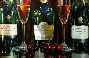 """Alexander Sheversky Hand Signed and Numbered Limited Edition Canvas Giclee:""""Three Champagnes"""""""