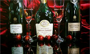 "Alexander Sheversky Hand Signed and Numbered Limited Edition Canvas Giclee:""Champagnes And Cherries"""