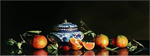 "Alexander Sheversky Hand Signed and Numbered Limited Edition Canvas Giclee:""Mandarins And Chinese Box"""