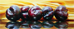 "Alexander Sheversky Hand Signed and Numbered Limited Edition Canvas Giclee:""Plums On Yellow"""