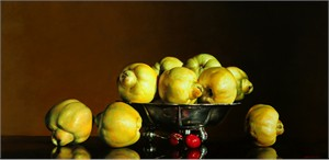 "Alexander Sheversky Hand Signed and Numbered Limited Edition Canvas Giclee:""Quinces In Silver Bowl"""