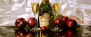 "Alexander Sheversky Hand Signed and Numbered Limited Edition Canvas Giclee:""Taittinger And Plums"""