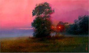 """Alexander Sheversky Hand Signed and Numbered Limited Edition Canvas Giclee:""""Vladimir Sorin Evening Twilight"""""""