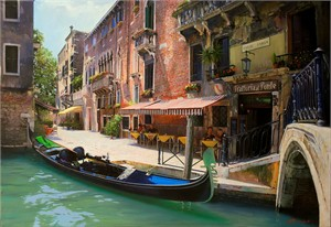 "Alexander Sheversky Hand Signed and Numbered Limited Edition Canvas Giclee:""Vladimir Sorin Venice Morning"""