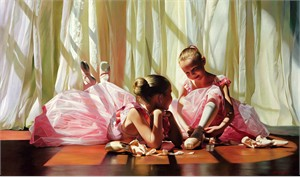 """Alexander Sheversky Hand Signed and Numbered Limited Edition Canvas Giclee:""""Petite Dancers"""""""