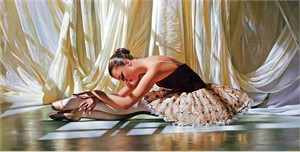 """Alexander Sheversky Hand Signed and Numbered Limited Edition Canvas Giclee:""""Golden Sequin"""""""
