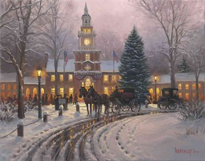 "Mark Keathley Limited Edition Artist Embellished AP Canvas Giclee:""Election Day"""