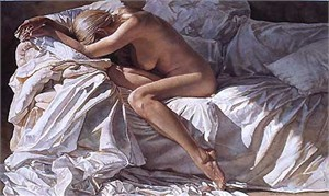"""Steve Hanks Handsigned and Numbered Limited Edition Giclee on Canvas:""""Blending into Shadows and Sheets"""""""