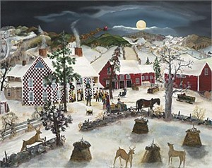 """Will Moses Handsigned & Numbered Limited Edition Serigraph :""""Checkered House Moon"""""""
