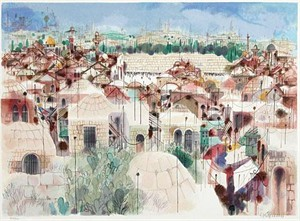 "Shmuel Katz Hand Signed and Numbered Limited Edition Serigraph on Paper: "" Jerusalem - The Wall """