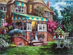 "Anatoly Metlan Hand Signed and Numbered Limited Edition Serigraph on Paper: "" Greenhouse """