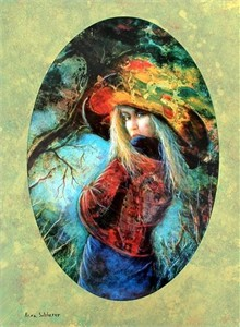 """Rina Sutzkever Hand Signed and Numbered Limited Edition Embellished Lithograph on Wood: """" Untamed Beauty  """""""
