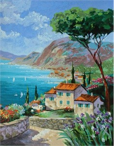 "Anatoly Zinger Hand Signed and Numbered Limited Edition Serigraph on Paper: "" Summer Retreat """