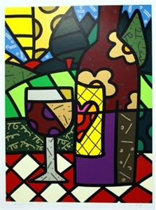 "Romero Britto Handsigned And Numbered Limited Edition Serigraph on Paper:""Red Wine"""