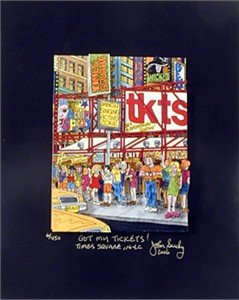 "John Suchy Limited Edition Mixed Media:""Got My Tickets! Times Square, N.Y.C."""