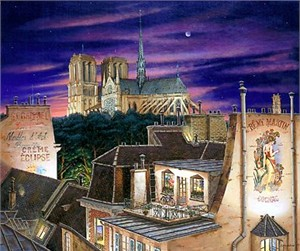 "Liudmila Kondakova Signed And Numbered Limited Edition Serigraph on Paper: ""Notre Dame At Dusk """