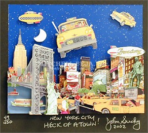 """John Suchy Limited Edition Mixed Media:""""New York City, Heck of a Town!"""""""