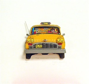 "John Suchy Limited Edition Mixed Media:""The Checker Cab (White)"""