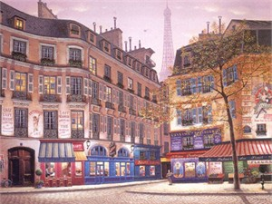 "Liudmila Kondakova Signed And Numbered Limited Edition Serigraph:""Eiffel Tower At Dawn """