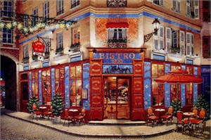 "Liudmila Kondakova Signed And Numbered Limited Edition Serigraph:""Bistro  1900 """