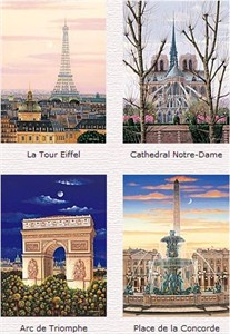 "Liudmila Kondakova Limited Edition (Matching Numbered)  Serigraphs on Gesso Board:"" Toujours Paris – Suite Of 4 """