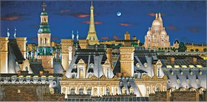 """Liudmila Kondakova Handsigned and Numbered Limited Edition Serigraph on Gesso Board:""""Rooftops of Paris at Night"""""""