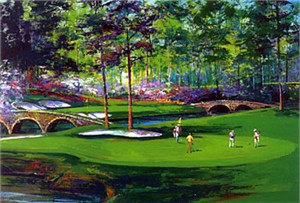 """Malcolm Farley Ehnanced Limited Edition Giclee on Canvas Handsigned By Jack Nicklaus :""""Amen Corner"""""""