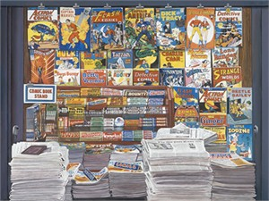 "Ken Keeley Limited Edition Giclee on Canvas:""Comic Book Stand"""
