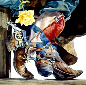 "Nelson Boren Handsigned and Numbered Limited Edition Giclee on Paper:""Yellow Rose of Texas"""