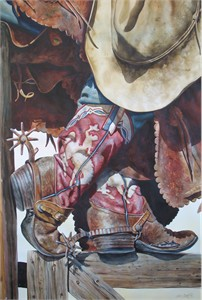 "Nelson Boren Handsigned and Numbered Limited Edition Giclee on Paper:""Old Wyoming Boots"""