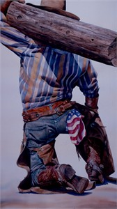 """Nelson Boren Handsigned and Numbered Limited Edition Giclee on Paper:""""Logging"""""""