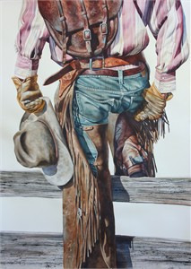 "Nelson Boren Handsigned and Numbered Limited Edition Giclee on Paper:""Old Saddle Bags"""