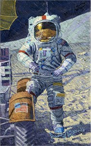 "Alan Bean Astronaut Signed Limited Edition Canvas Giclee:""Getting Ready to Ride"""
