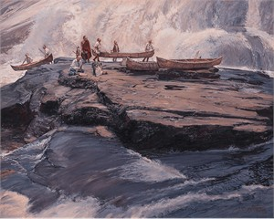"""John Buxton Limited Edition Masterwork Canvas Giclee:""""A Brief Delay at The Wall"""""""