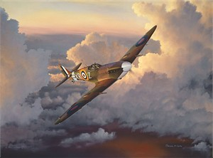 "William Phillips Hand Signed and Numbered Limited Edition Canvas Giclee :""A Time of Eagles (Spitfire)"""