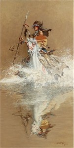 """Frank McCarthy Hand Numbered Anniversary Edition Canvas Giclee """"Charging the Challenger"""""""