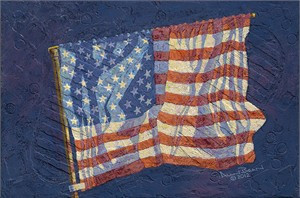 """Alan Bean Astronaut Signed Limited Edition Textured Canvas Giclee:""""First Flag"""""""