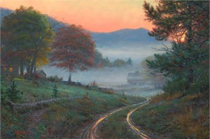 """Mark Keathley Hand Signed and Numbered Limited Edition Embellished Canvas Giclee:"""" Morning in Cades Cove """""""