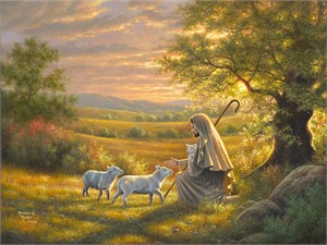 "Abraham Hunter Hand Signed and Numbered Limited Edition Embellished Canvas Giclee:""Come Unto Me"""