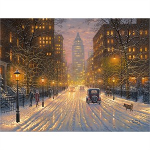"Abraham Hunter Hand Signed and Numbered Limited Edition Embellished Canvas Giclee:""City Lights"""