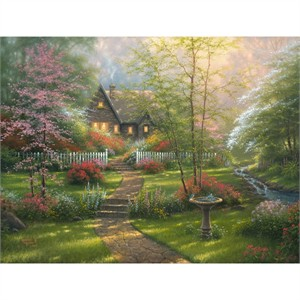 "Abraham Hunter Hand Signed and Numbered Limited Edition Embellished Canvas Giclee:""Dogwood Cottage"""