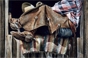 """Nelson Boren Handsigned and Numbered Limited Edition Giclee on Paper:""""Horse Blanket"""""""