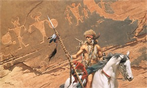 "Frank McCarthy Hand Numbered Masterwork Edition Canvas Giclee:""In The Land of the Ancient Ones"""