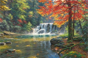 "Mark Keathley Hand Signed and Numbered Limited Edition Embellished Canvas Giclee:""Tranquil Falls"""