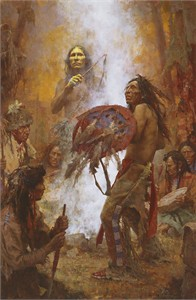 "Howard Terpning Artist Signed Limited Edition Canvas Giclee:""Transferring the Medicine Shield"""
