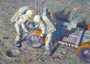 "Alan Bean Astronaut Artist Signed Limited Edition Canvas Giclee: ""Conquistadors - Apollo 15"""
